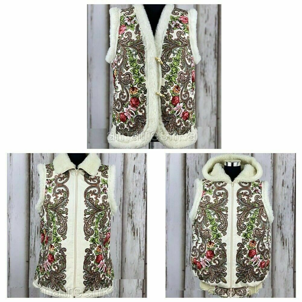 Women's vest from Russia with a floral pattern based on pavloposadskih shawls