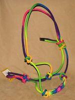 Braided Nylon Rope Halter Rainbow Colors Cowboy Horse Halter - Horse Tack