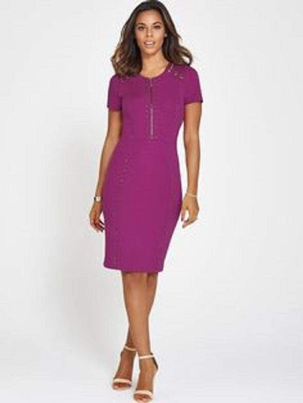 BNWT ROCHELLE HUMES BERRY STUDDED PENCIL WIGGLE   DRESS  SIZE RRP