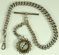 Antique silver albert pocket watch guard chain with silver compass