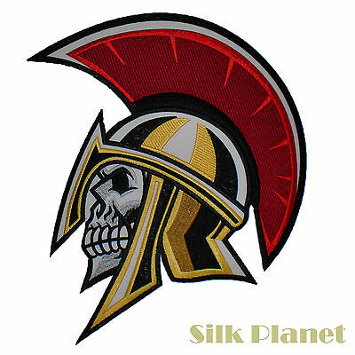 "10"" Spartan Skull Warrior Greek Helmet Armour Motorcycle Biker Back Patch Vest"