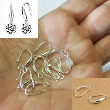 925 Solid Sterling Silver Flat w// Coil Ear Wire Hook Findings 100pcs #5201-1
