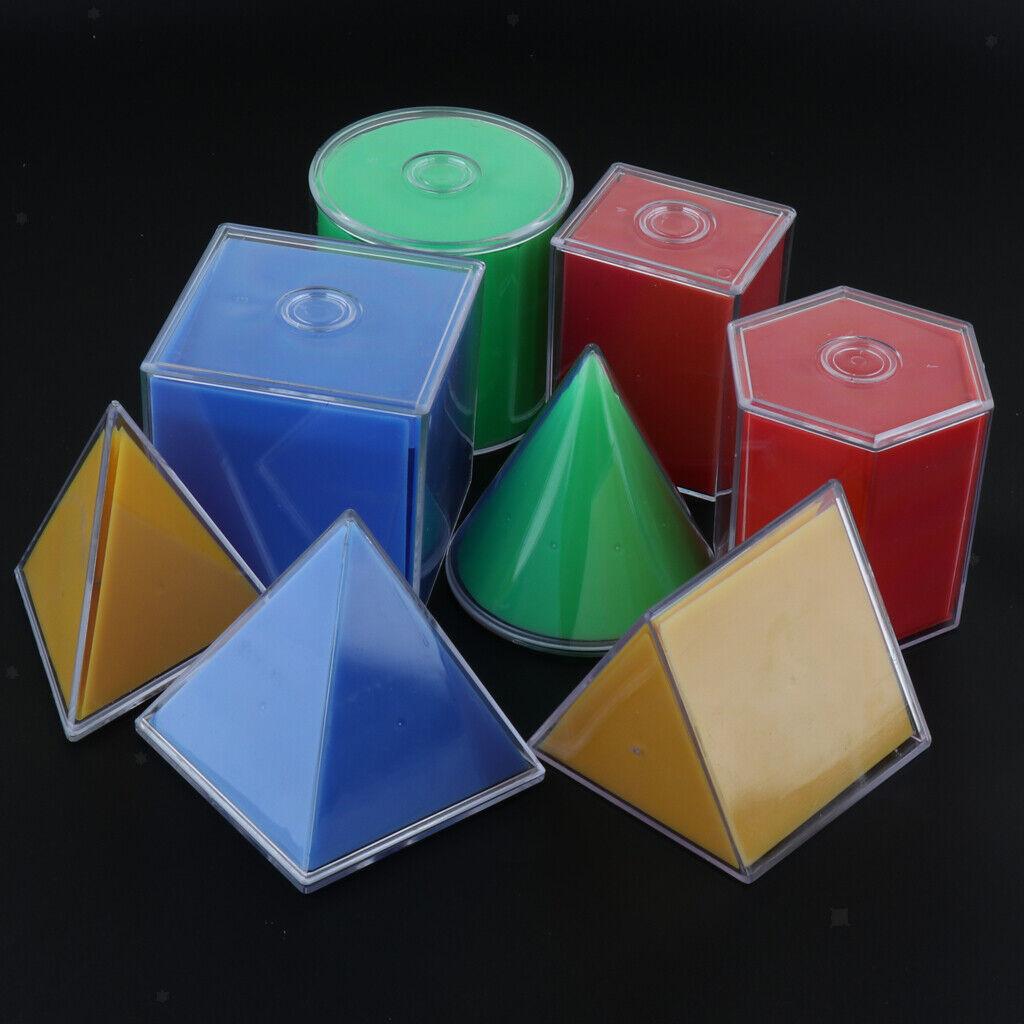 8pcs set Geometric Solid 3D Montessori Learning Kids Educational Math Toy