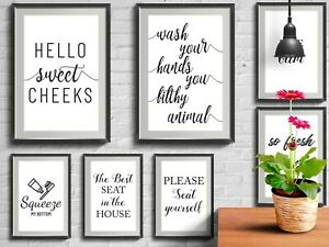 Framed Bathroom Prints Wall Funny Art Poster Quality Toilet Home Pictures A6 A4 Ebay