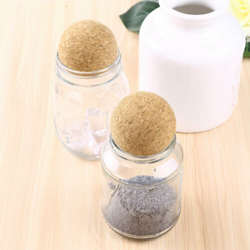 2Pcs 61mm Creative Wooden Wine Cork Ball Stopper for Wine Decanter Carafe Bottle