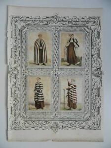 4x Incisione Costume Religioso Rialzata - Monaci
