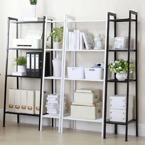 White-Black-Ladder-Shelf-Bookcase-4-Tier-Bookshelf-Flower-Display-Storage-Rack