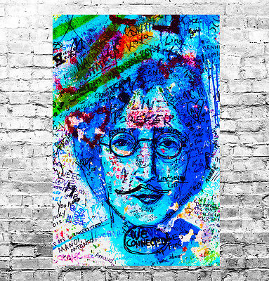 STUNNING JOHN LENNON GRAFFITI POP ART CANVAS #1 QUALITY CANVAS PICTURE WALL ART
