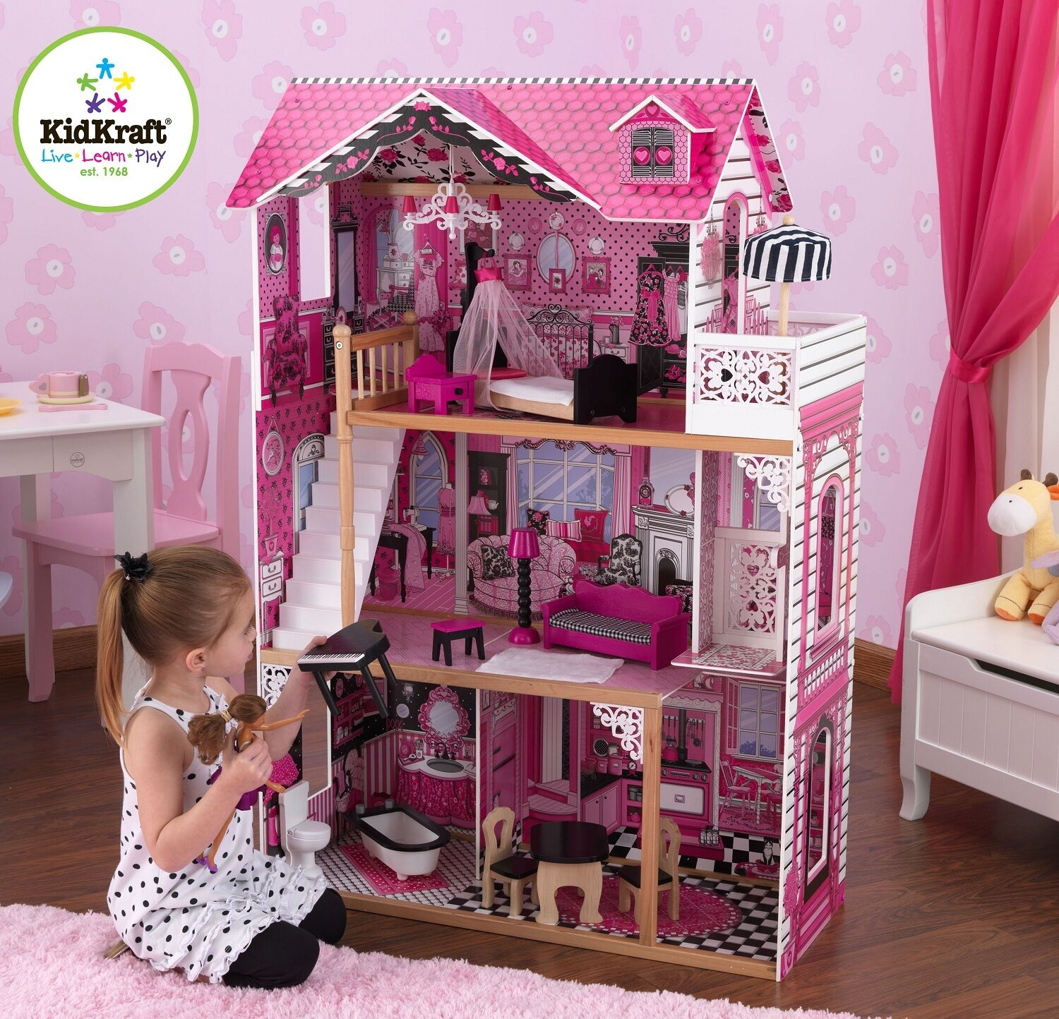 Kidkraft Amelia Dollhouse, Wooden House with Lift fits Barbie Größed Dolls