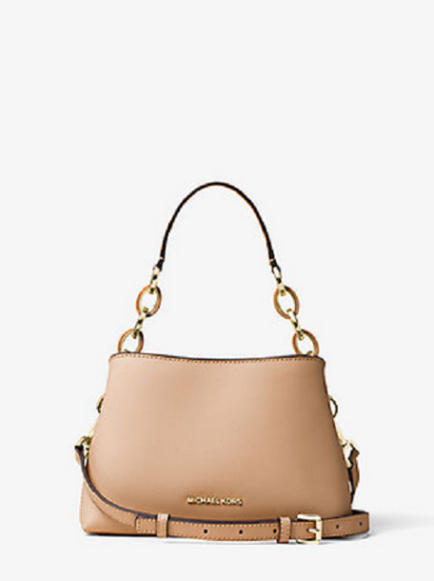Michael Kors Portia Small Saffiano Leather Shoulder Bag in Oyster
