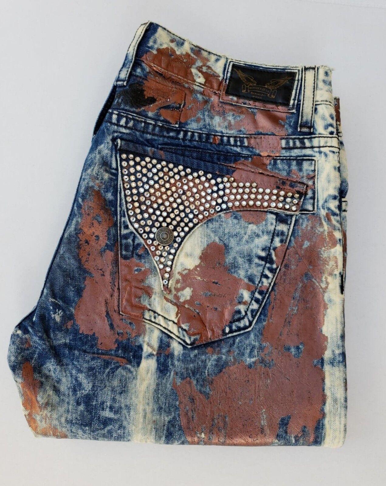 Nuevo Para hombres Robin's Jean Talla 40 Jeans Rectos Rectos Rectos Con Tachas revestido-lavado de Cooper 1775e3