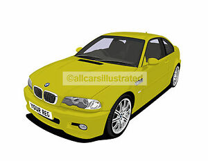 BMW-M3-E46-GRAPHIC-CAR-ART-PRINT-PICTURE-SIZE-A4-PERSONALISE-IT