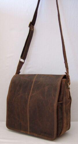 GreenBurry Messenger Bag Rind-Leder Ordnungswunder Organizer Umhänge-Tasche 1729