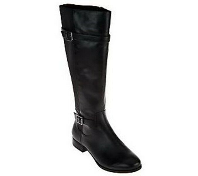 Isaac Mizrahi Live! Gored Leather Riding Boots  Buckle- ABBY--PICK SIZE COLOR NW