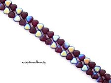 50 Dark Garnet Frost AB Preciosa Czech Pressed Glass 6mm Puffed Heart Beads