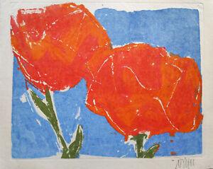 Unleserlich-signiert-Mohnblumen-Farblithografie