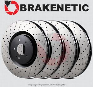 FRONT + REAR BRAKENETIC PREMIUM Cross DRILLED Brake Rotors TL w//BREMBO BPRS709