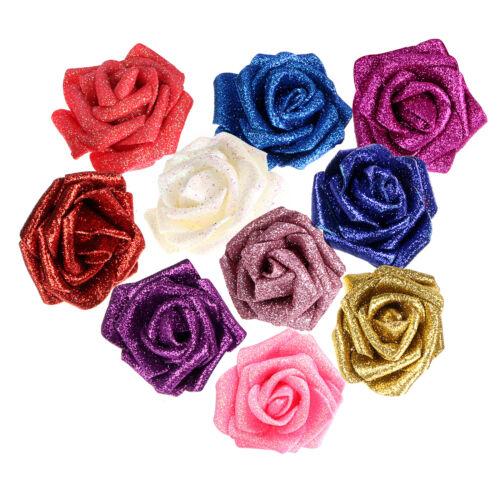 9pcs Foam Roses Glitter Powder Flowers Bride Bouquet Home Wedding Party Decor