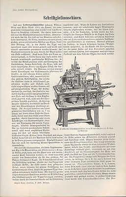 Lithografie 1897 Schriftgießmaschinen. Komplett-gieß-maschine Schrift-giesserei Hitze Und Durst Lindern.