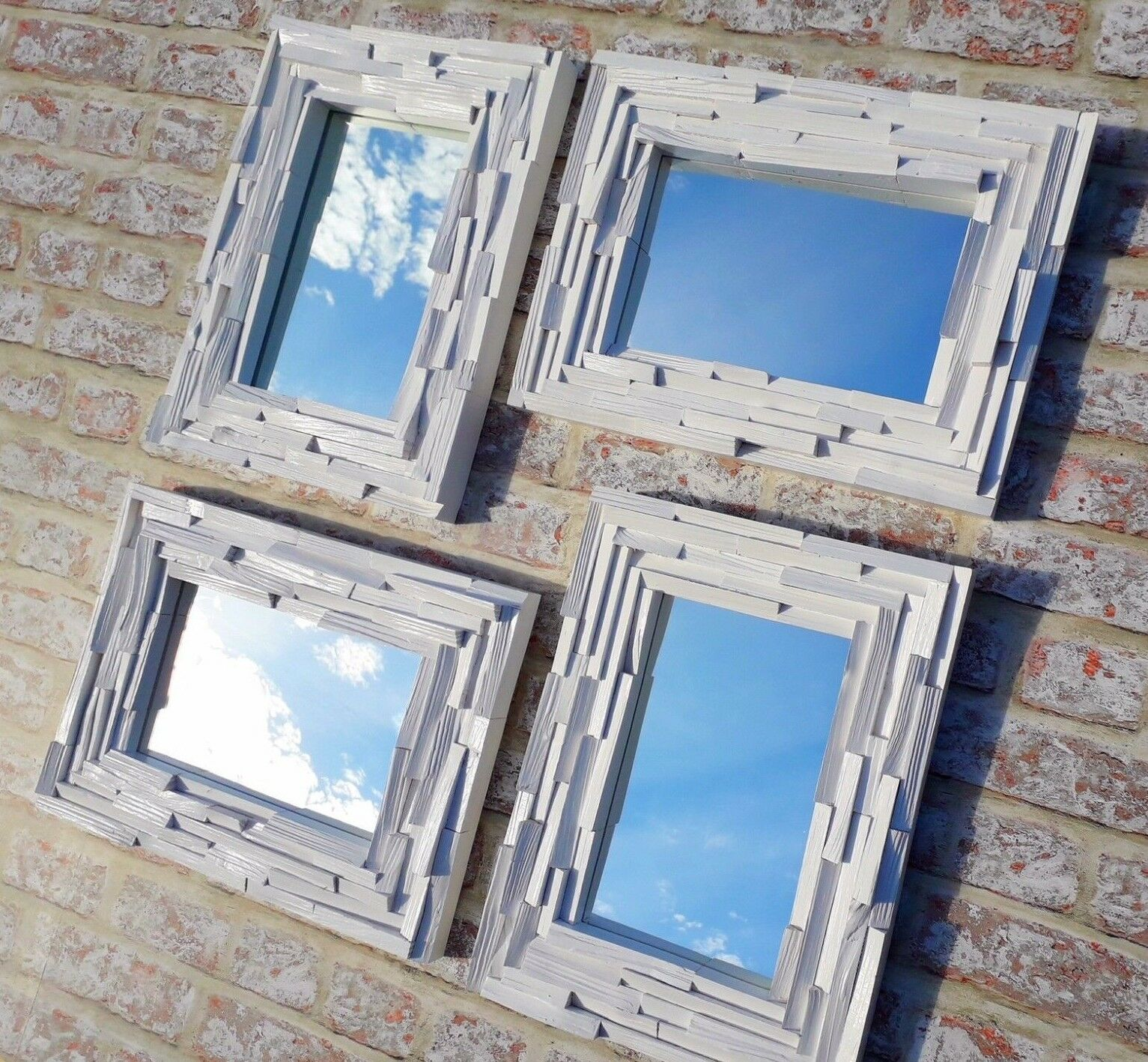 Unique Rustic Upcycled Solid Split Wood Framed Mirror Weiß Satin