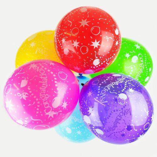 "10x 12/"" Multicoloured /'Congratulations/' Latex Balloons Graduation Decorations"