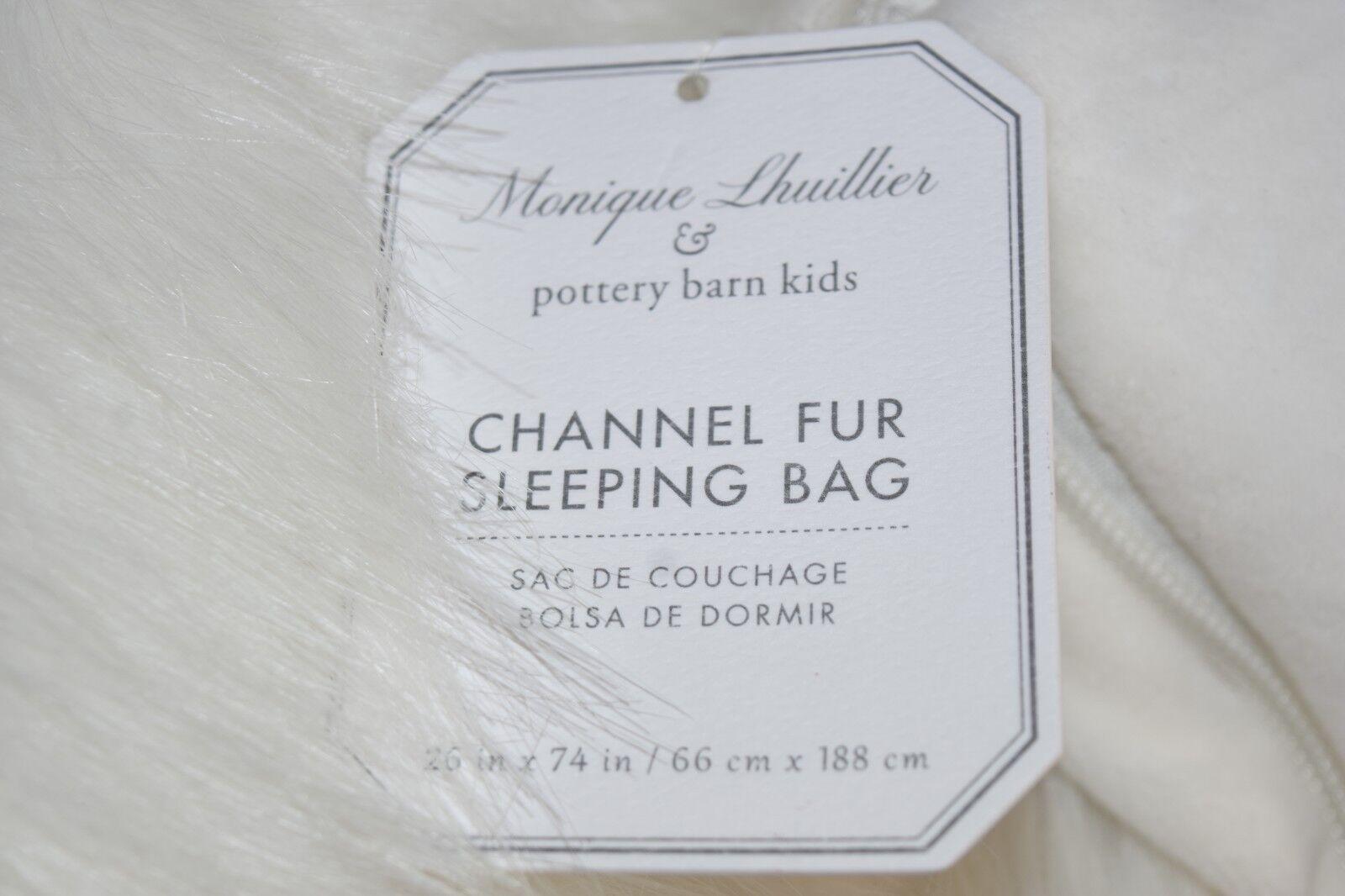 Nouveau POTTERY BARN Kids Monique Lhuillier Channel en fourrure synthétique sac de couchage Blanc