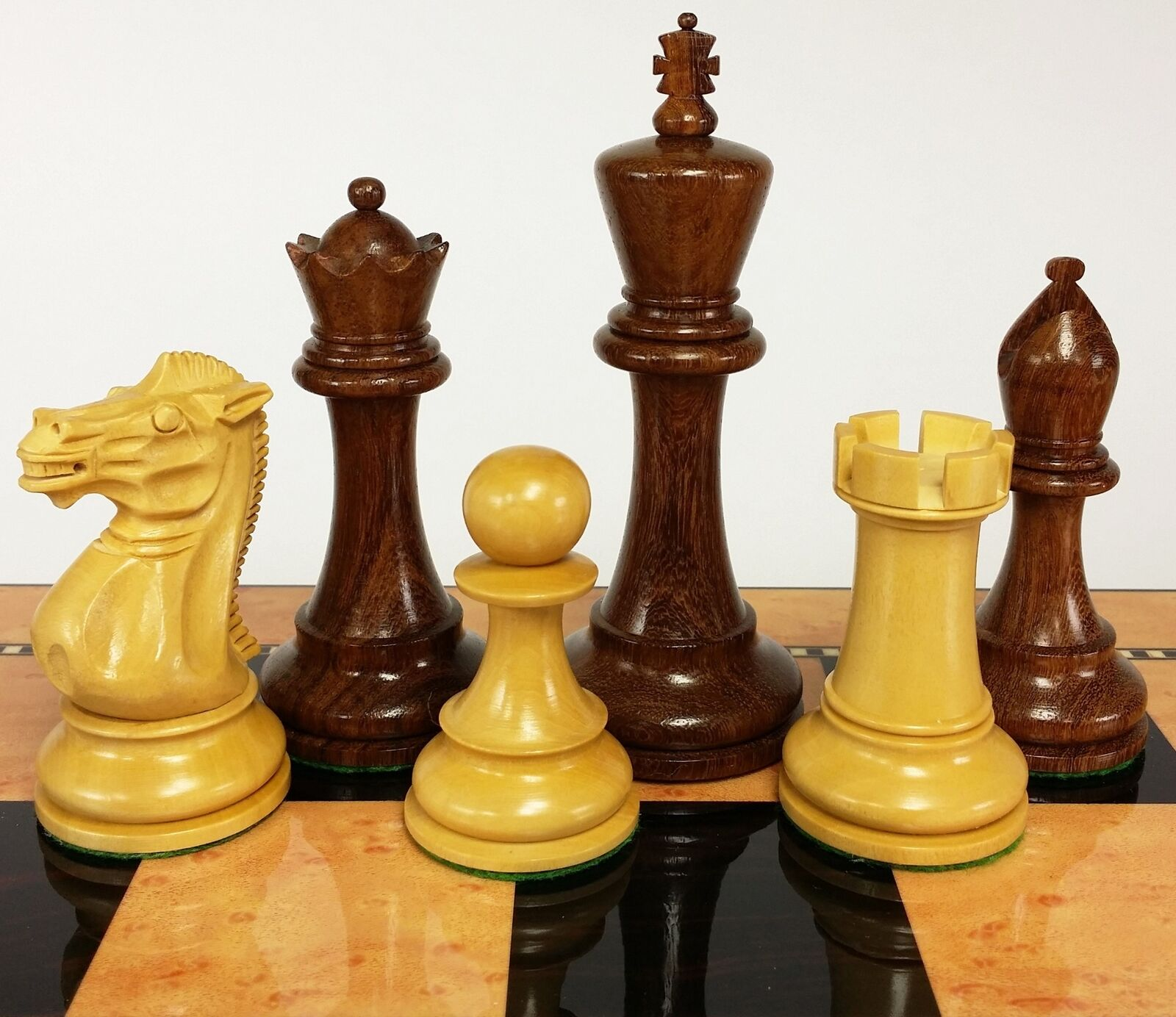 4 QNS Sheesham 4 5 8 Anderssen Staunton Wood Large Chess Men Set NO Board