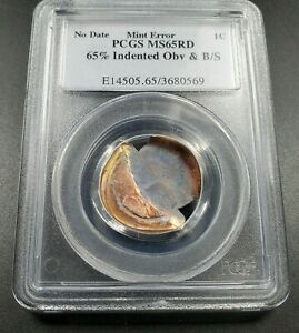 65% Indent + BroadStrike Error Coin ND Zinc Lincoln Memorial Cent PCGS MS65 RD