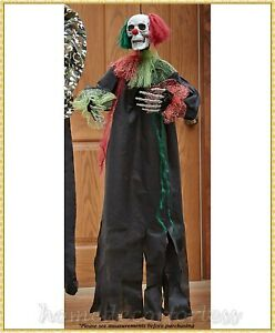 Animated-Hanging-Scary-CLOWN-SKELETON-Halloween-Haunted-House-Prop-Decoration