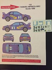 DECALS 1/43 SUBARU IMPREZA WRC COLIN MC RAE RALLYE SUEDE SWEDISH 1998 RALLY