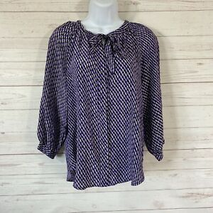 Joie Madera Long Sleeve Printed Silk Blouse Size XS Purple Button Front Neck Tie