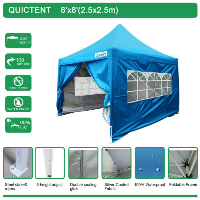 Quictent 8 X 8 Pyramid Roof Ez Pop Up Gazebo Party Tent Black 100