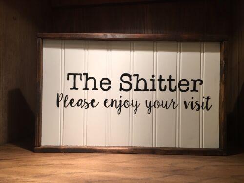 farmhouse style toilet sign bathroom rustic wood sign framed sign home decor
