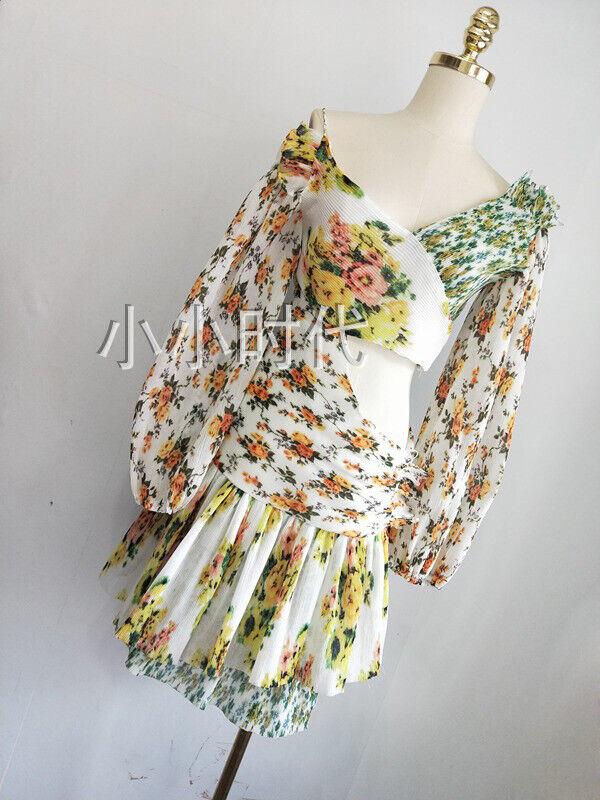 New Women Dress golden Surfer Dress Asymmetrical Pleated Floral Floral Floral Short Dresses ec7b71