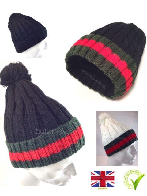 f7a2b87f8 pom pom kintted beanie hat Men's Women's Bobble cap Woolly Designer Winter  hats