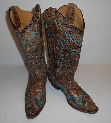Corral Vintage Cowgirl Distressed Boots Turquoise/Brown Size 6.5 Pointed Toe