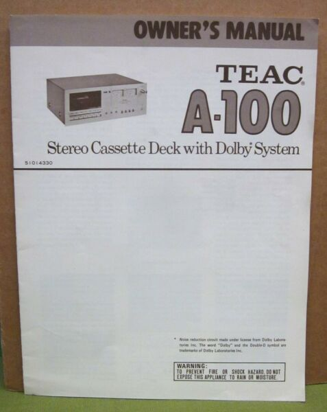 Teac Electronics Stereo Cassette Deck A-100 Owner's Manual 1970s