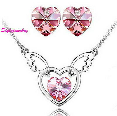 Responsible White Gold Filled Pink Heart Bridal Set Made With Swarovski Crystal N59xe4 Pure And Mild Flavor Jewelry & Watches