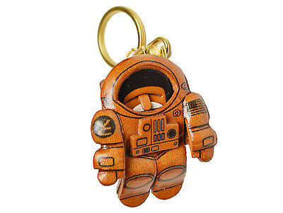 Key chain ring *VANCA* Made in Japan 56892 Astronaut Handmade 3D Leather L