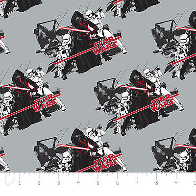 BY HALF YARD FOR QUILTING STAR WARS FABRIC MOVIE LOGO THE FORCE AWAKENS