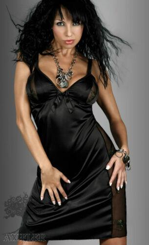 LIVCO Karen nuit robe satin Déshabillé Noir dentelle dessous transparent motif