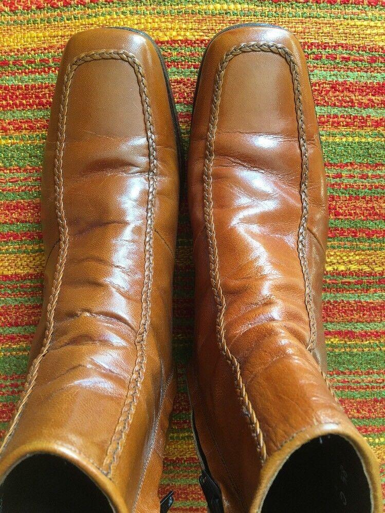 8.5 C Vintage 1970s FLORSHEIM Honey Brown MOC TOE Dress Boot DESIGNER COLLECTION