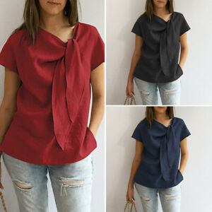 Women-Short-Sleeve-Bows-O-Neck-Cotton-Plain-Casual-Loose-Blouse-T-Shirt-Tee-Top