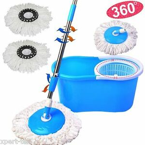 Blue Easy Magic Floor Mop 360° Bucket 2 Heads Microfiber Spin Spinning Rotating