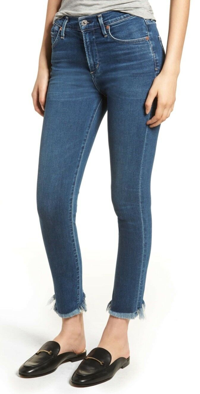 Citizens of Humanity Rocket Crop Größe Haute Ourlet Effiloché Skinny Jeans 26 BNWT