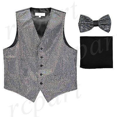 New Men/'s Formal Vest Tuxedo Waistcoat/_bowtie /& hankie set stripes silver gray