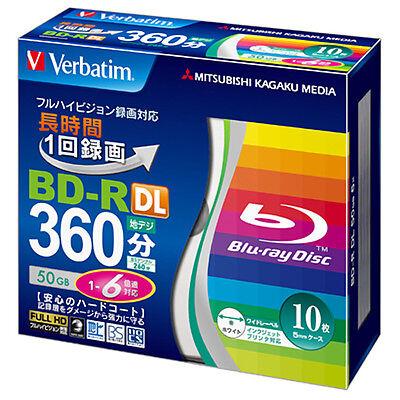 10 Verbatim Bluray Disc 50 GB BD-R Dual Layer 6x Speed Inkjet Printable Spindle.