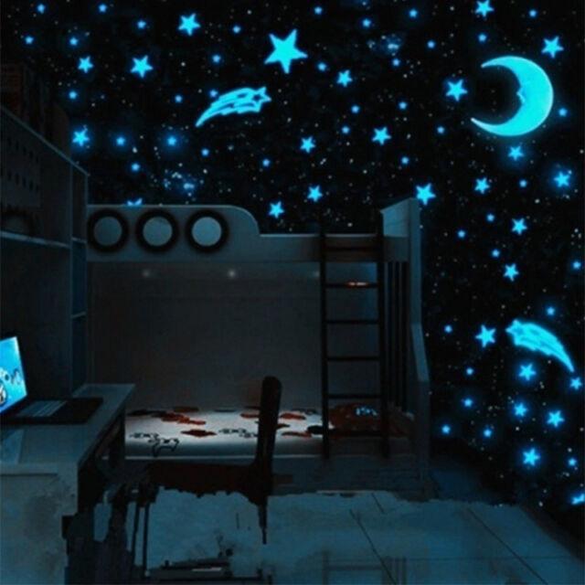 80pcs Stars Glow In The Dark Wall Stickers Baby Kids Nursery Room Ceiling Decor