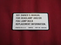 1987 Chevrolet Monte Carlo And Ss Headlight / Fog Light Bulb Replacement Decal
