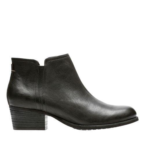 Women's Clarks Maypearl Ramie Side Zip Ankle Boot Leather Black 261 29486 Medium